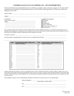 Form Certificate Fillable Uniform Sales And Use Tax