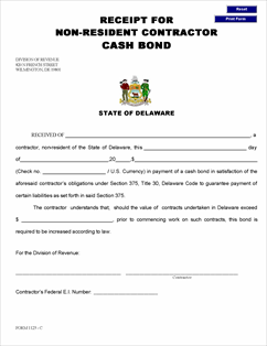 download form contractor bond receipt view all de delaware sales use and other taxes