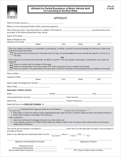Form DR-123 Fillable Affidavit for Partial Exemption of Motor ...
