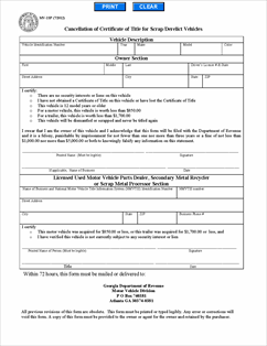 Form mv 1sp fillable application to cancel certificate of for Georgia motor vehicle title search
