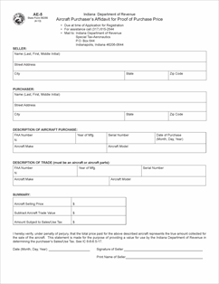 Form AE Fillable Aircraft Purchasers Affidavit For Proof Of - Proof of purchase template