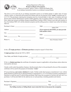 Indiana Property Tax Exempt Form