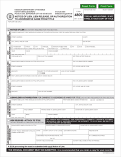 Form 4809 Fillable Notice of Lien or Lien Release Motor Vehicle