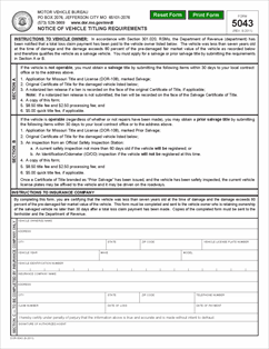 Form 5043 Fillable Notice of Vehicle Titling Requirements