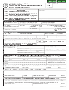 Form 5062 Fillable Application for Vehicle or Trailer ...