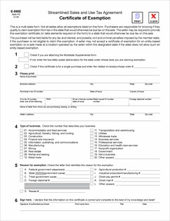 resale certificate nc Form E-595E Fillable Streamlined Sales and Use Tax Agreement ...