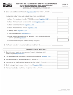 Form 10 Fillable Nebraska And Local Sales And Use Tax Return With