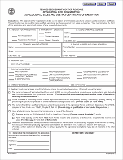 Form F Application For Registration Agricultural Sales And - Tennessee legal forms