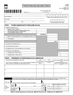 Form F 1065 Florida Partnership Information Return With Instructions