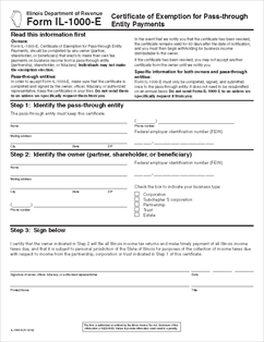 Form IL-1000-E Certificate of Exemption for Pass-through