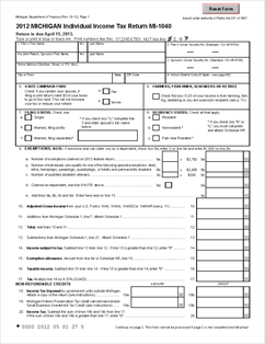 Tax2012MI_MI-1040_20130201_Page_1  Ez Form Completed Example on how do you fill out, completed example, filled out example, tax table 2019, print out, georgia tax, line 5 worksheet, how fill, difference between 1040,