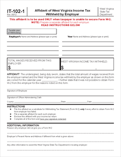 Form It 102 1 Affidavit Of West Virginia Income Tax Withheld By Employer