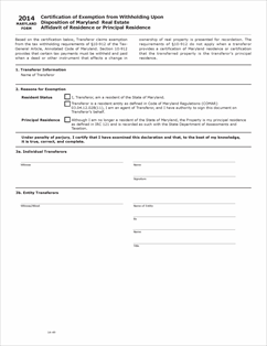 Download Form Affidavit Of Residence View All 2013 MD