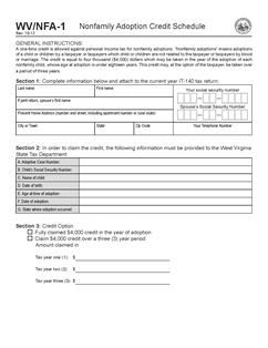 Form NFA1 Fillable Non-family Adoption Credit Schedule: