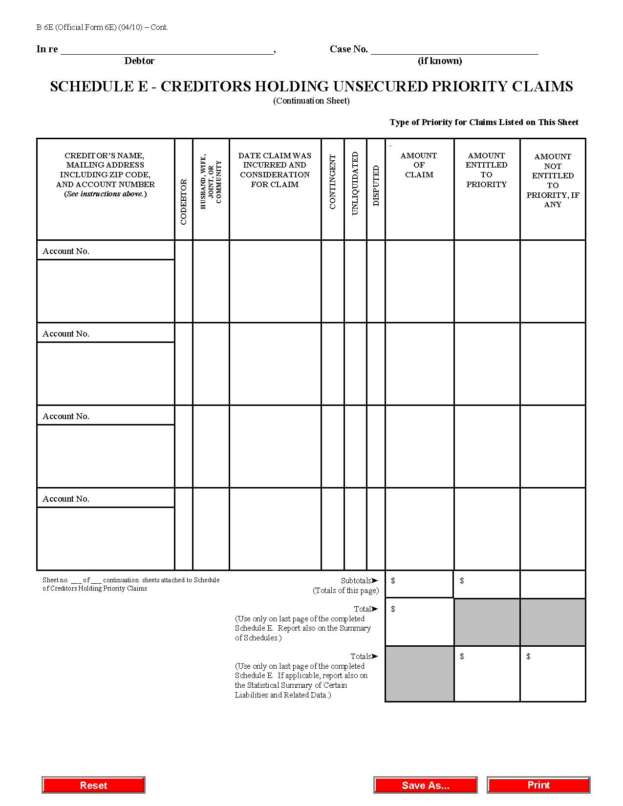 Form B 6E Schedule E Creditors Holding Unsecured Priority Claims – Schedule E Worksheet