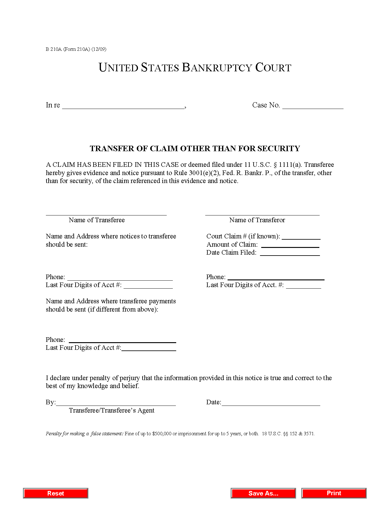 Form B 210A Transfer of Claim Other Than for Security (12/09)