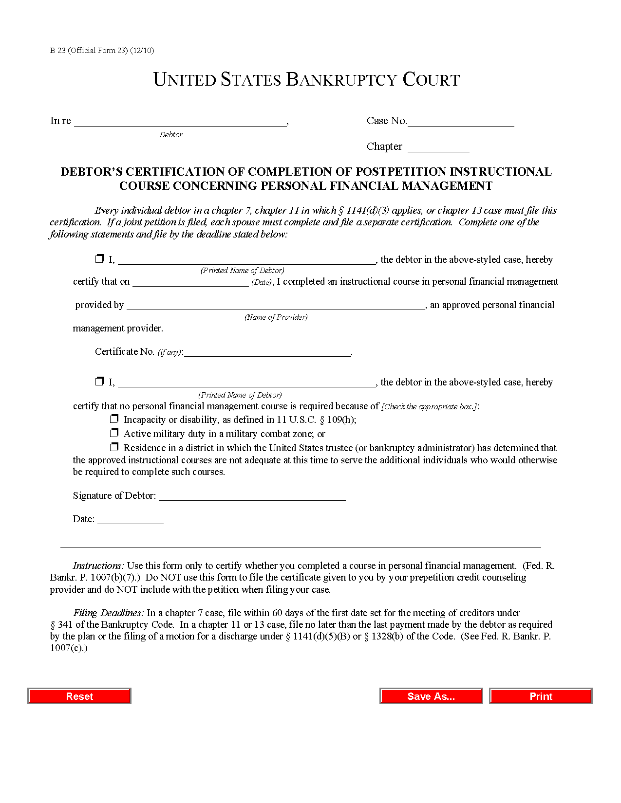 Form B 23 Debtor's Certification of Completion of Instructional ...