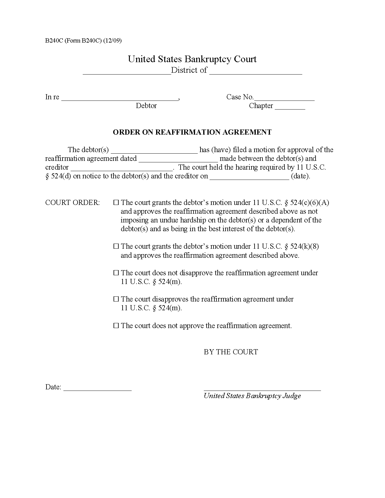 Form B 240c Order On Reaffirmation Agreement 1209