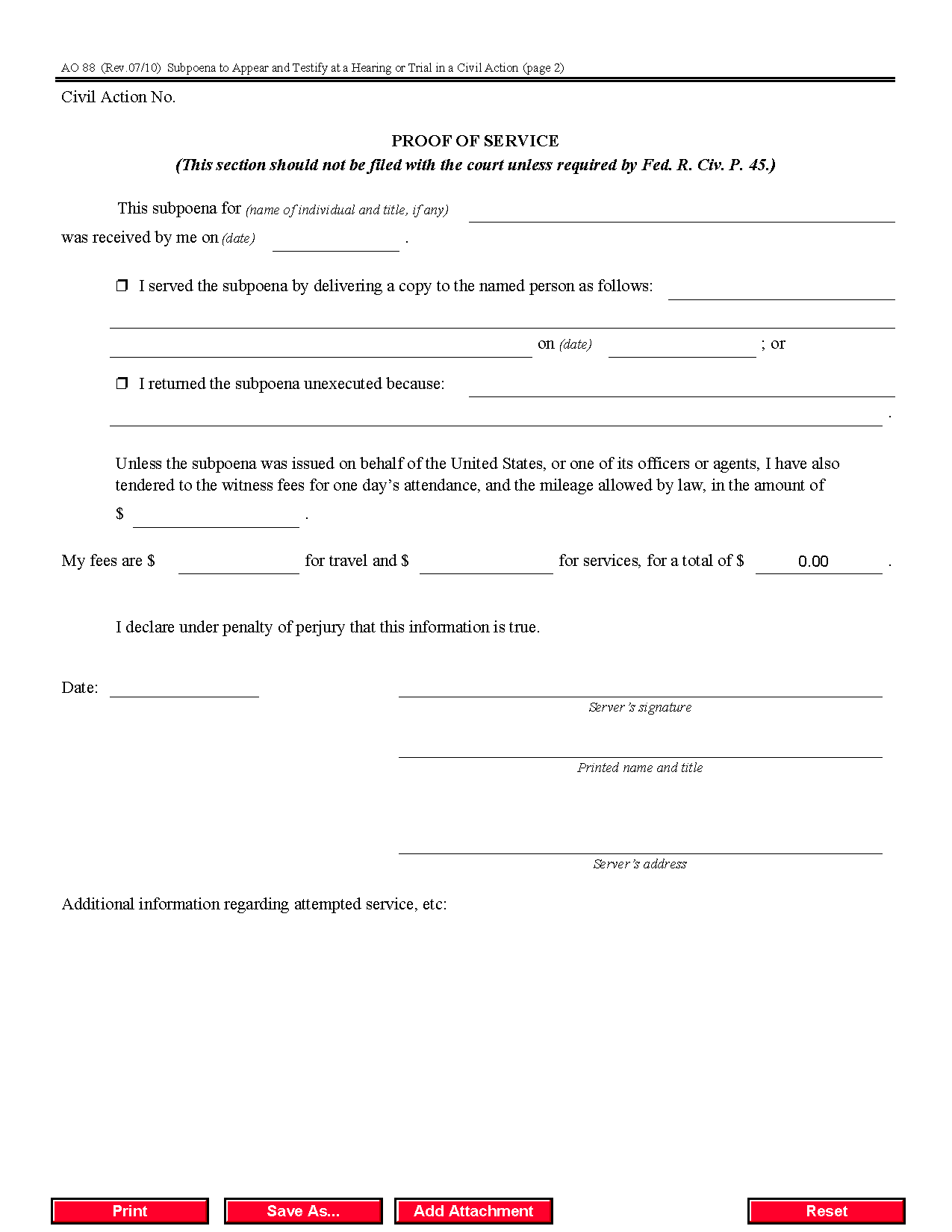 Form AO 088 Subpoena to Appear and Testify at a Hearing or Trial ...
