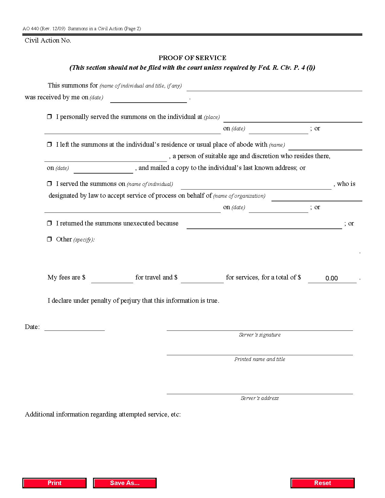Civil Summons Form Form Ao 440 Summons In A Civil Action