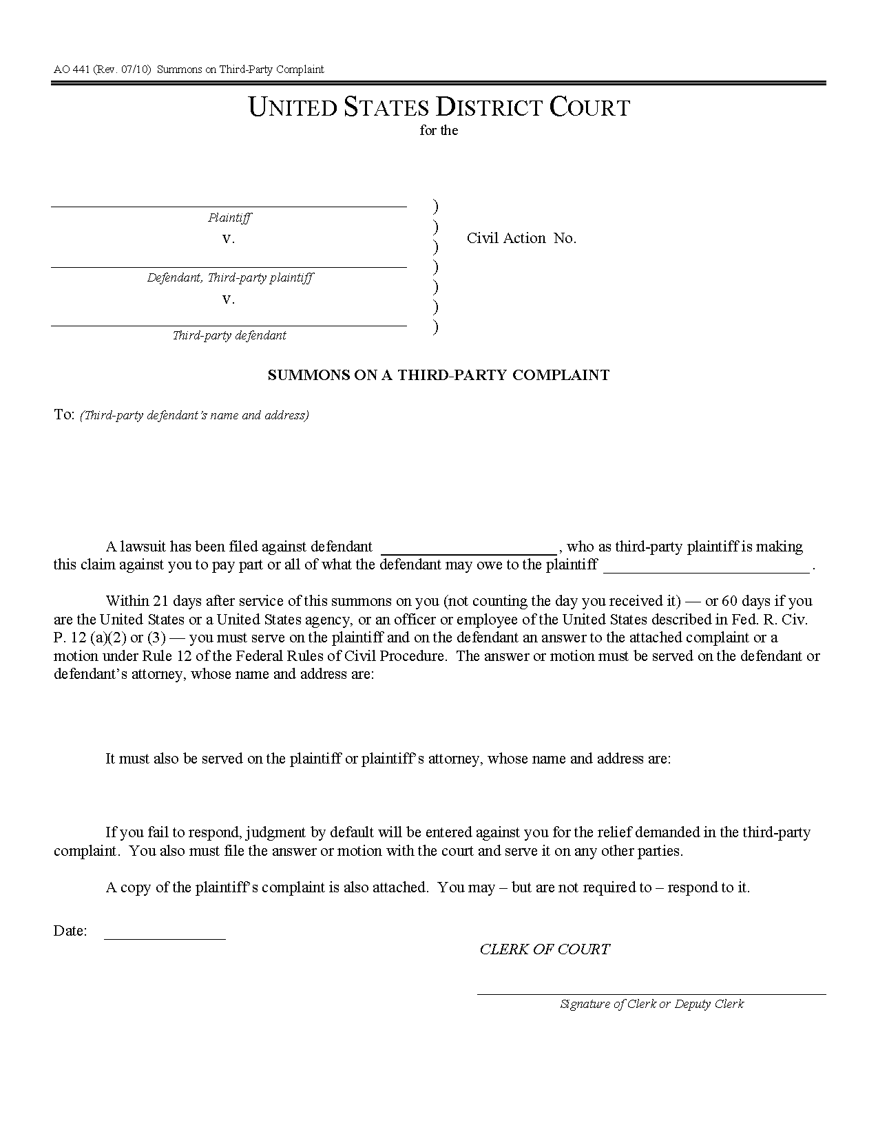 Form AO 441 Summons on Third-Party Complaint
