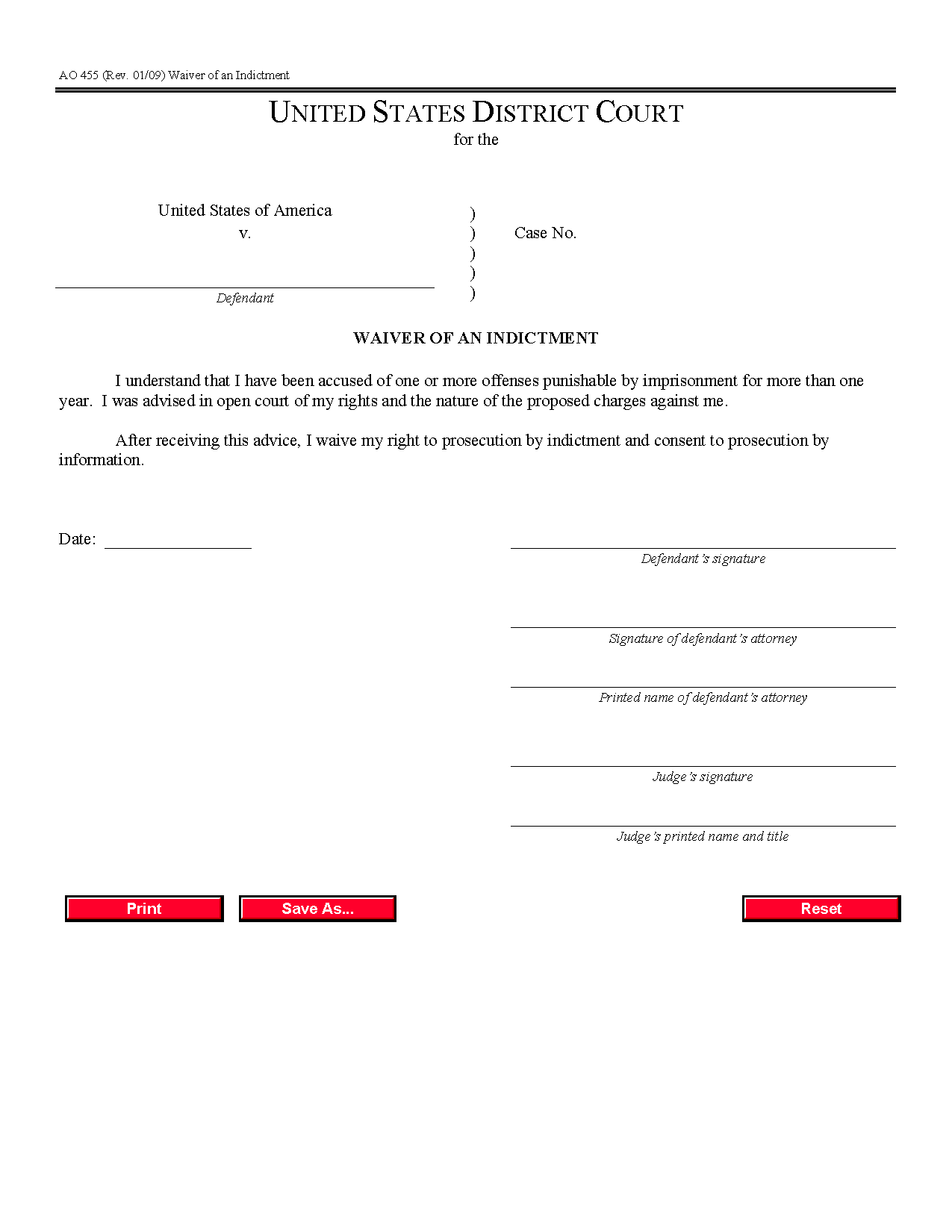 Form AO 455 Waiver of an Indictment