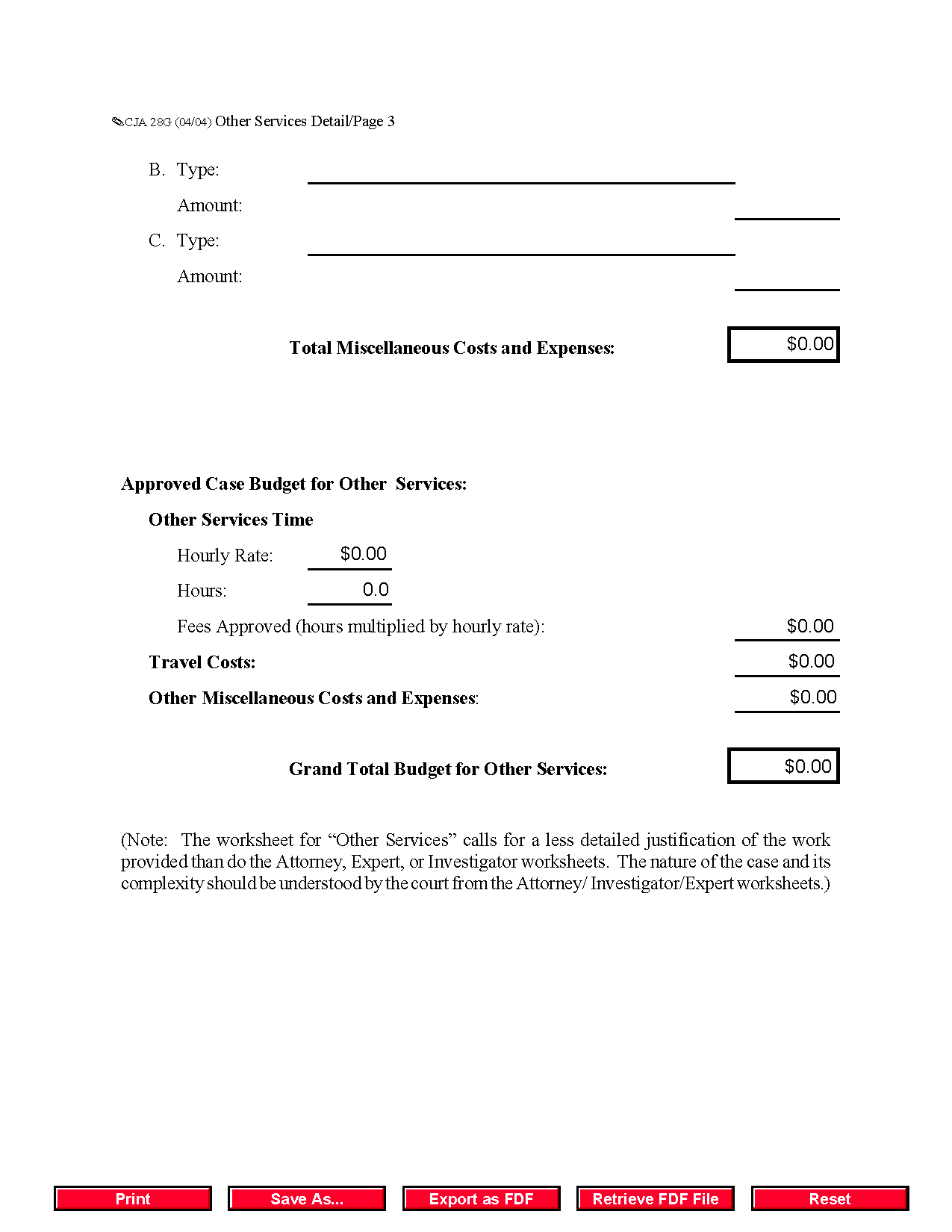 Form CJA0028G Other Services Detailed Budget Worksheet for Non – Dts Travel Worksheet