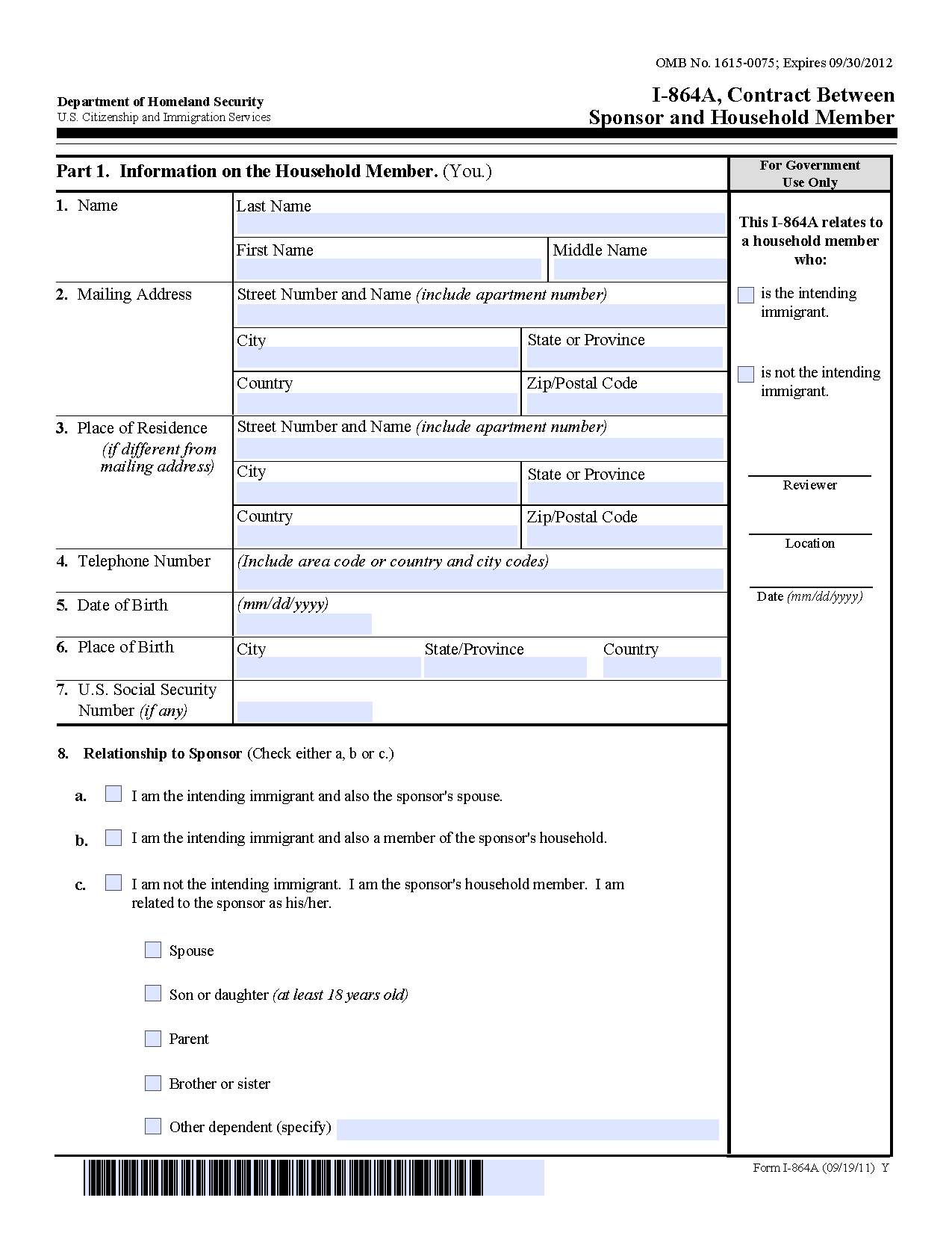 Form I-864A Contract Between Sponsor and Household Member