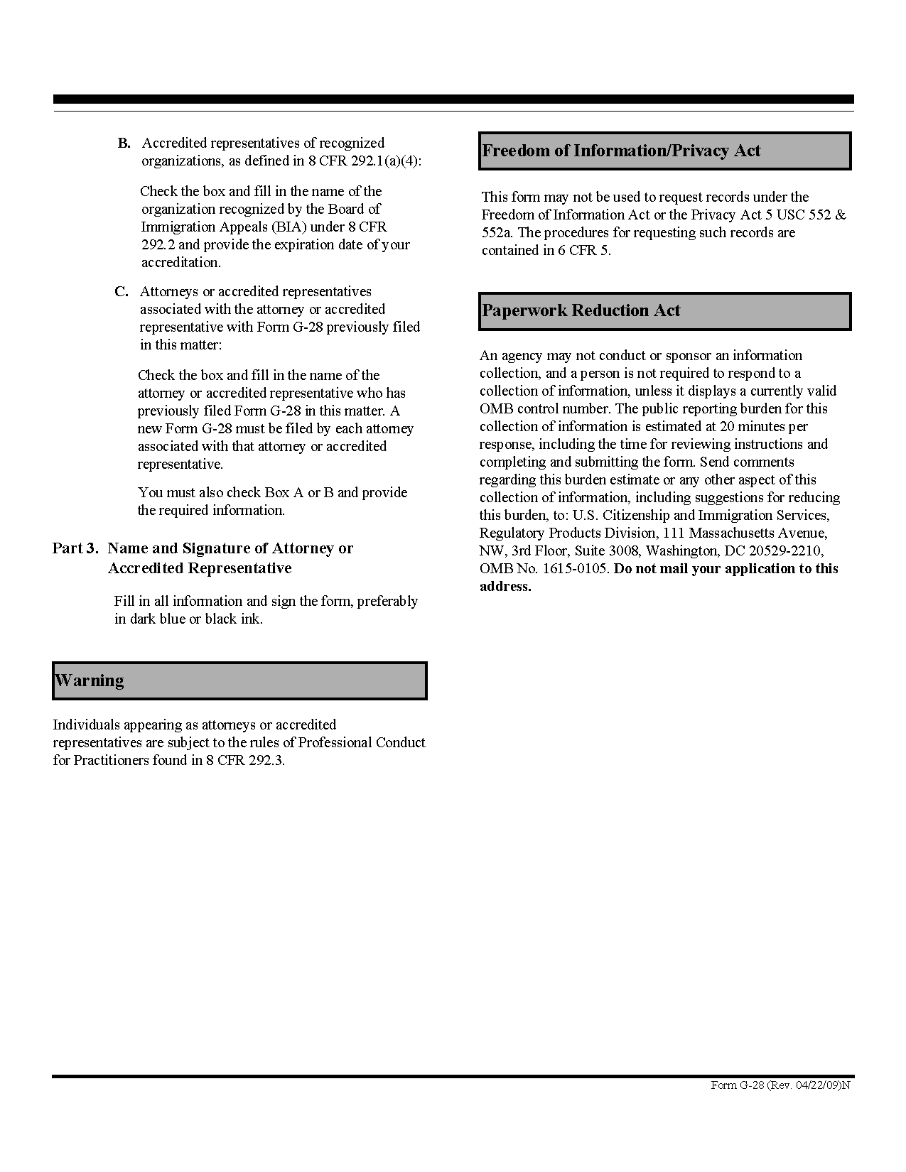 Form g 28 notice of entry of appearance as attorney or accredited download form g 28 view all us citizenship and immigration services falaconquin