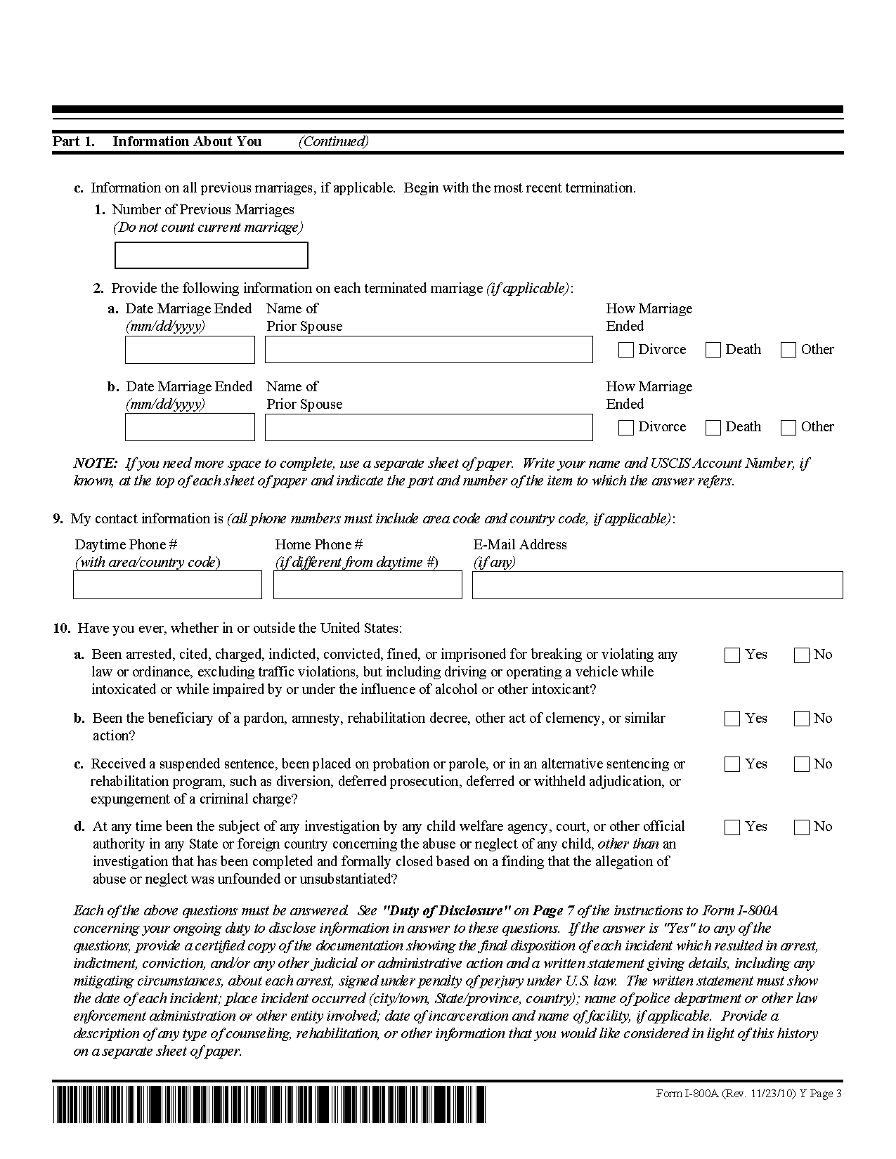 Form I-800A Application for Determination of Suitability to Adopt ...