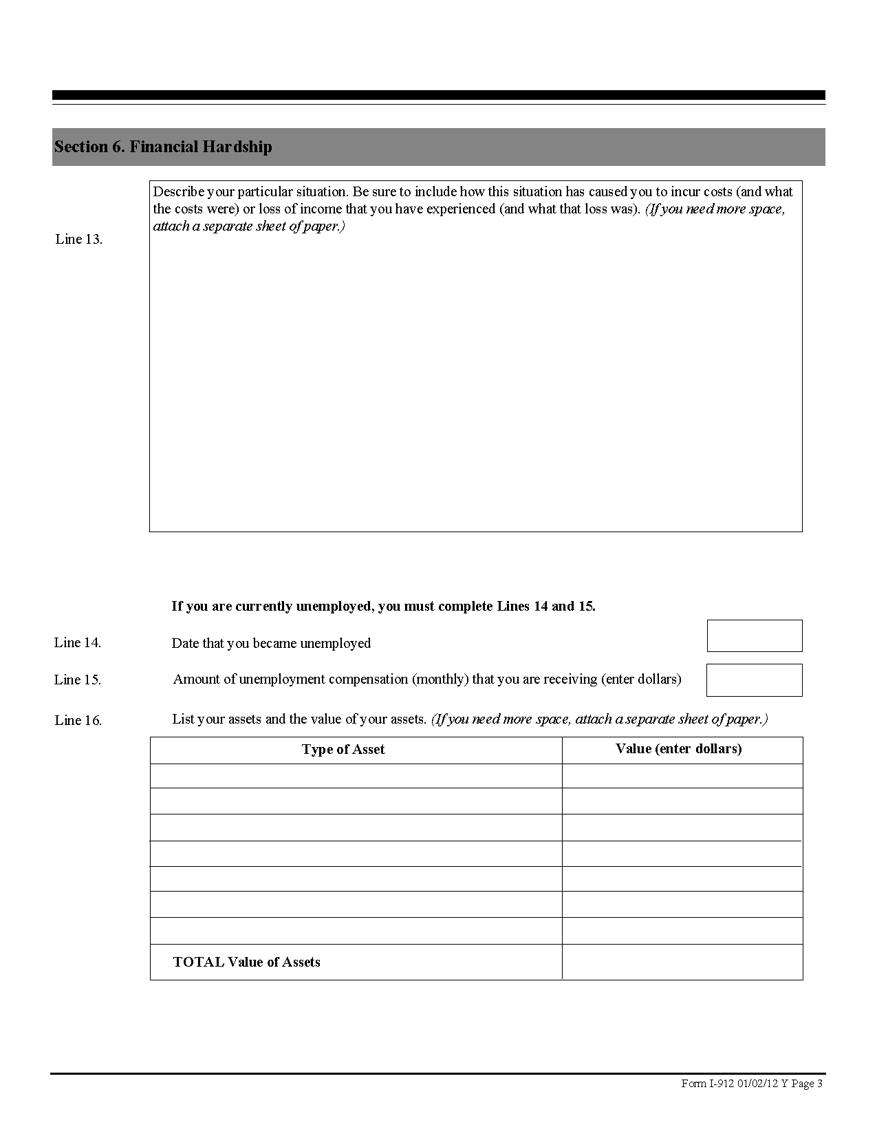 Form I-912 Request for Fee Waiver