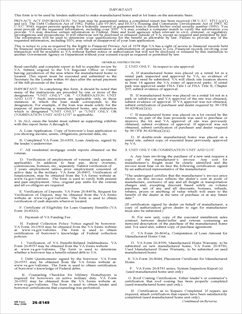 Form 26-8149 Report of Automatic Manufactured Home and/or Lot Loan