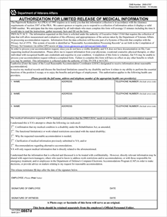 Form VA-0857d Authorization for Limited Release of Medical Information