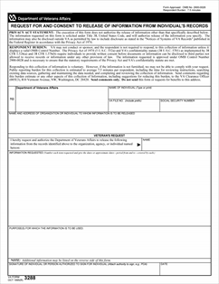 Form VA-3288 Request for and Consent to Release Information from ...