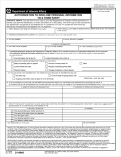 Form 21-0845 Authorization To Disclose Personal Information To a ...