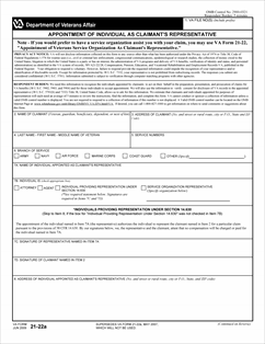 Form 21-22a Appointment of Individual As Claimant's Representative