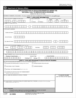 Form 22-1990n Application for VA Education Benefits Under the ...