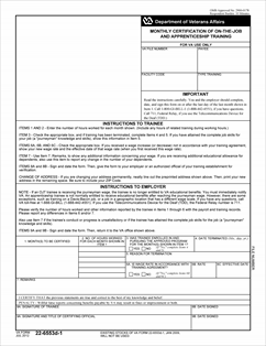 Form 22-6553d-1 Monthly Certification of On-The-Job and ...
