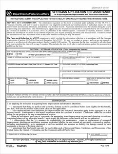 Form 10-0103 Veterans Application for Assistance in Acquiring Home ...