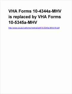 Form 10-4344a-MHV Individual's Rqst for Med Record from MyHealtheVet -