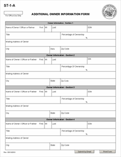 Form ST-1-A Fillable Additional Owner Information