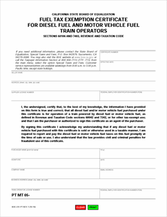 Form BOE-231-PT Fillable Fuel Tax Exemption Certificate for Diesel ...