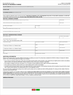 Form BOE-345-WEB Fillable Notice of Business Change