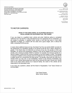 Form Boe 400 Pn Fillable Attention Motor Carriers Penalty