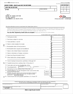 Form BOE-401-EZ Fillable Short Form - Sales and Use Tax Return