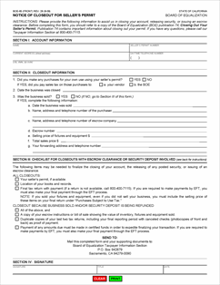Form BOE-65 Fillable Notice of Closeout For Seller's Permit