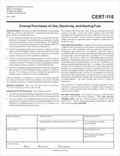Form CERT-115 Fillable Exempt Purchases of Gas, Electricity and ...