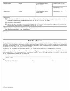 Form CERT-119 Fillable Certificate for Purchases of Tangible ...