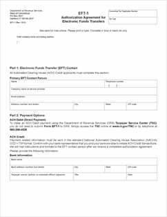 Form EFT-1 Fillable Authorization Agreement for Electronic Funds ...