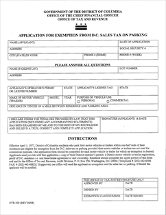 Form OTR-309 Fillable Application for Exemption from DC Sales Tax ...